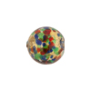 Red and Sea Green Multi 24kt Gold Foil Cluseau, Round 14mm Murano Glass Bead