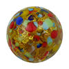 Multi Colored Cluseau over 24kt Gold Foil and Crystal, 14mm Round Murano Glass Bead