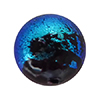 Teal Dichroic on Black Murano Glass Bead, Round, 10mm