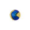 Murano Glass Bead, Carnevale Dichroic Round 12mm Exterior Gold and Teal Blue