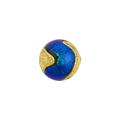 Murano Glass Carnevale Dichroic Round 14mm Exterior Gold Teal Blue