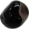 Dichroic Murano Glass Bead, Black Pebble, 30mm
