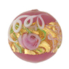 Wedding Cake Round 18mm Pink, Murano Glass Bead