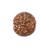 Murano Glass Bead Textured Fritte 16mm Round Gold Foil Chocolate