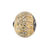 Murano Glass Bead Textured Fritte 16mm Round Gold Foil White