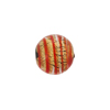 Murano Glass Beads Filigrana Round Black Base Gold 12mm Orangey Red Stripes