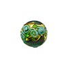 Murano Glass Bead Bed of Roses Exterior Gold Foil Round 12mm Transparent Verde Marino