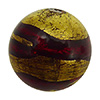 Exterior Gold Lines Round 12mm Ruby Red, Murano Glass Bead