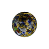 Black Base KLIMT Round 12mm Exterior Gold Foil with Mosaics Murano Glass Bead