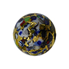 Black Base KLIMT Round 14mm Exterior Gold Foil with Mosaics Murano Glass Bead