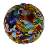 Red Base KLIMT Round 20mm Exterior Gold Foil with Textured Mosaics Murano Glass Bead