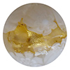Venetian Glass Lace Bead Clear Base, White Lace Murrine, Exterior 24kt Gold Foil Round 12mm