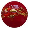 Venetian Glass Lace Bead Clear Base, Red Murrine, Exterior 24kt Gold Foil Round 12mm