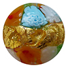 Venetian Glass Lace Bead Clear Base, Multi Colors Murrine, Exterior 24kt Gold Foil Round 12mm