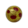 Red Dots Leopard 20mm Round Gold Foil Murano Glass Bead