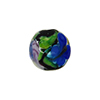 Black Multi Millefiori Round w/Butterfly 14mm Murano Glass Bead