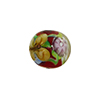 Red Multi Millefiori Round w/Butterfly 14mm Murano Glass Bead