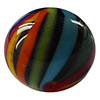 Missoni Multi Colored Ribbons Round 12mm with Black Base Murano Glass Bead