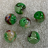Green and White Pazze Beads 12mm Murano Glass
