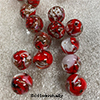 Red and White Pazze Beads 12mm Murano Glass