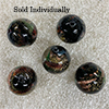 Black Pazze Beads 14mm Murano Glass