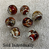 Red and Topaz Pazze Beads 14mm Murano Glass
