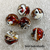 Topaz and White Pazze Beads 16mm Murano Glass