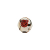 Murano Glass Bead Peony Round 10mm White and Red