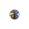 Aqua, Green, Pink Silver Foil Picasso, 12mm Round, Murano Glass Bead