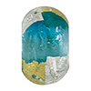 Aqua Gold & Silver Foil Rondelle 15x10mm 5.5mm Hole, Murano Glass Bead