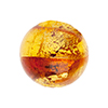 Sole Murano Glass Bead, Topaz and Gaggia & Gold Foil Swirl, 18mm Round