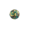 Aqua, Purple 24kt Gold Foil Sospire, 20mm Round, Murano Glass Bead