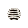 Black Outside Spirals 16mm Round Silver Foil Murano Glass Bead