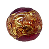 Venetian Glass Beads Pink and Rubino with Exterior Gold Foil Swirl Round 10mm