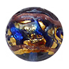 Venetian Glass Beads Blue  with Exterior Gold Foil Swirl Round 10mm