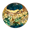 Venetian Glass Beads Aqua with Aqua with Exterior Gold Foil Swirl Round 10mm