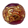 Venetian Glass Beads Pink and Rubino with Exterior Gold Foil Swirl Round 12mm