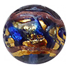 Venetian Glass Beads Blue  with Exterior Gold Foil Swirl Round 12mm