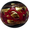 Venetian Glass Beads Red with Exterior Gold Foil Swirl Round 14mm