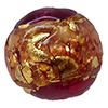 Venetian Glass Beads Rubino with Exterior Gold Foil Swirl Round 14mm
