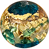 Venetian Glass Beads Aqua with Exterior Gold Foil Swirl Round 14mm