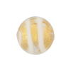 White Tiger Stripes 24kt Gold Foil Round 18mm, Murano Glass Bead