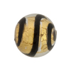 Black Tiger Stripes 24kt Gold Foil Round 20mm, Murano Glass Bead