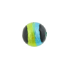 Green & Aqua Sash Silver Foil Black Round 12mm, Murano Glass Bead
