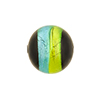 Green & Aqua Sash Silver Foil Black Round 16mm, Murano Glass Bead