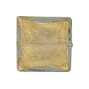 Gold Foil Murano Glass Bead, 20mm Square, Light Gray