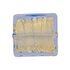 Light Blue Gold Foil 20mm Square Venetian Bead