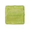 Peridot Square White Gold 20mm, Murano Glass Bead