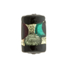 Murano Glass Bead Sea Green and Rubino Arlecchino Rectangle 20mm 24kt Gold Foil