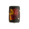 Murano Glass Bead Topaz and Red Arlecchino Rectangle 20mm 24kt Gold Foil